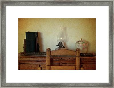 Antique Desk Set Textured Framed Print by Thomas Woolworth