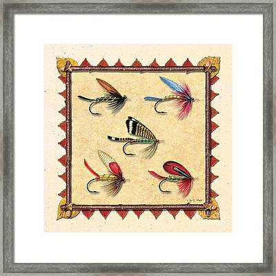 Antique Fly Panel Creme Framed Print by JQ Licensing