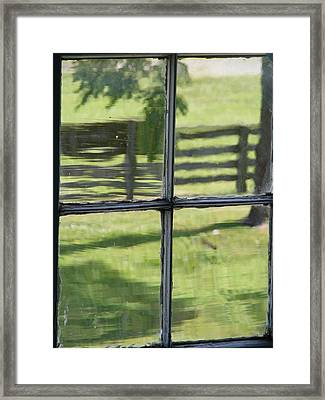 Antique Glass Window Framed Print by Ed Smith