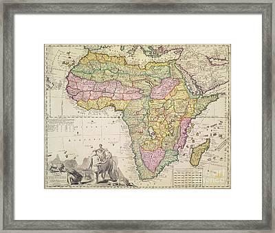 Antique Map Of Africa Framed Print by Pieter Schenk
