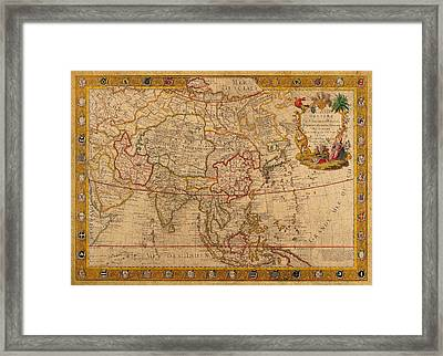 Antique Map Of Asia 1732 Vintage On Worn Canvas Framed Print by Design Turnpike