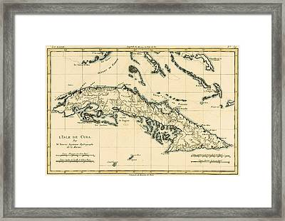 Antique Map Of Cuba Framed Print by Guillaume Raynal