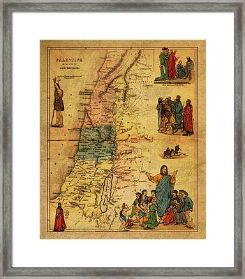 Antique Map Of Palestine 1856 On Worn Parchment Framed Print by Design Turnpike