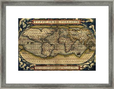 Antique Map Of The World By Abraham Ortelius - 1564 Framed Print by Marianna Mills