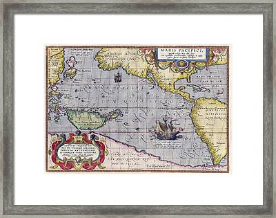 Antique Map Of The World By Abraham Ortelius - 1589 Framed Print by Marianna Mills
