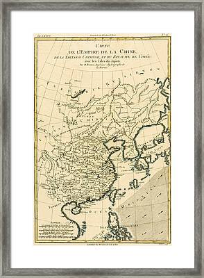 Antique Map The Chinese Empire Framed Print by Guillaume Raynal