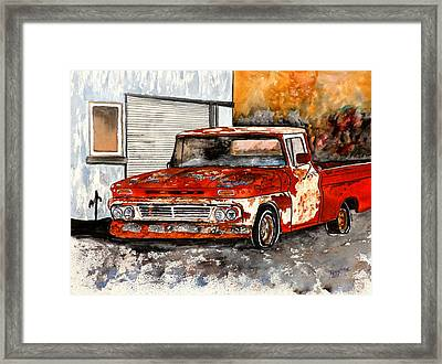 Antique Old Truck Painting Framed Print by Derek Mccrea