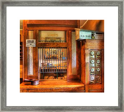 Antique Post Office At The General Store -  Framed Print by Lee Dos Santos