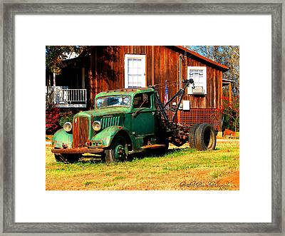 Antique Tow Truck Framed Print by Barbara Bowen