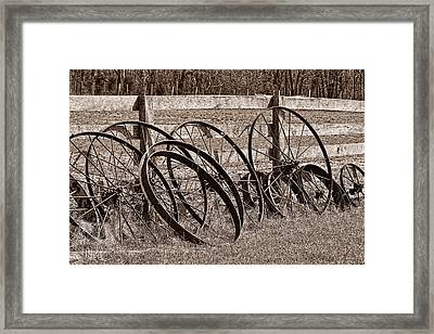Antique Wagon Wheels I Framed Print by Tom Mc Nemar