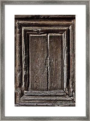 Antique Wood Door Panel Framed Print by Olivier Le Queinec