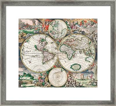 Antique World Map Framed Print by Dutch School