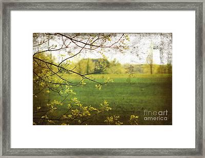 Antiqued Grunge Landscape Framed Print by Sandra Cunningham