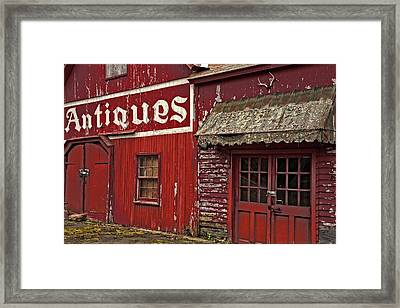 Antiques Red Barn Framed Print by Karol Livote