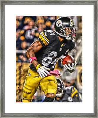 Antonio Brown Steelers Art 2 Framed Print by Joe Hamilton
