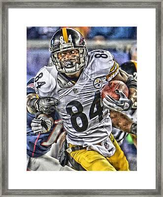 Antonio Brown Steelers Art Framed Print by Joe Hamilton