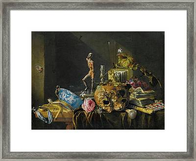 Antwerp A Vanitas Still Life With A Skull And An Ecorch Framed Print by MotionAge Designs