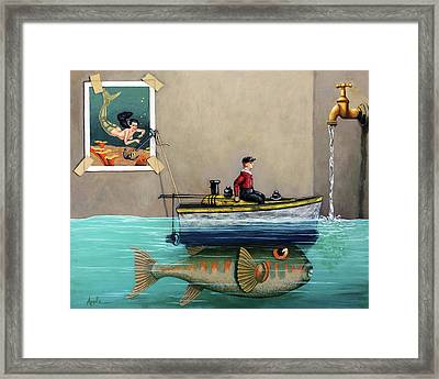 Anyfin Is Possible - Fisherman Toy Boat And Mermaid Still Life Painting Framed Print by Linda Apple