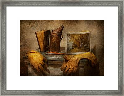 Apiary - The Beekeeper  Framed Print by Mike Savad