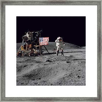 Apollo 16 Astronaut Leaps Framed Print by Stocktrek Images