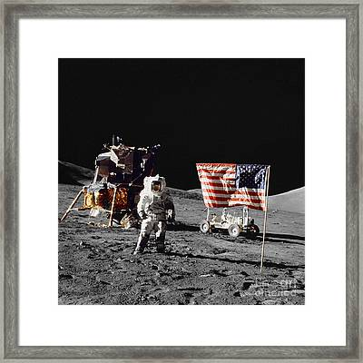 Apollo 17 Astronaut Stands Framed Print by Stocktrek Images