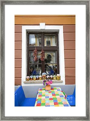 Apothecary Jars On Windowsill  Framed Print by Madeline Ellis