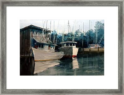 Appalachicola Docks Framed Print by Charles Rowland