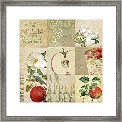 Apple Blossoms Patchwork I Framed Print by Mindy Sommers