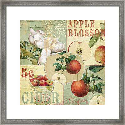 Apple Blossoms Patchwork Iv Framed Print by Mindy Sommers