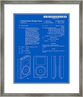 Apple Ipod Patent - Blueprint Framed Print by Finlay McNevin