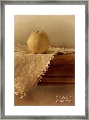 Apple Pear On A Table Framed Print by Priska Wettstein
