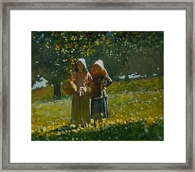 Apple Picking Framed Print by Winslow Homer