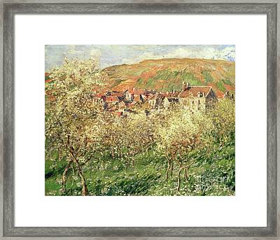 Apple Trees In Blossom Framed Print by Claude Monet