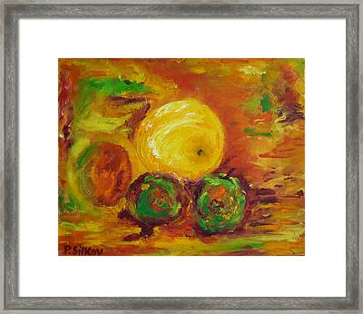 Apples And Grapefruit Framed Print by Peter Silkov