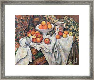 Apples And Oranges Framed Print by Paul Cezanne