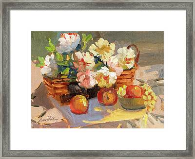 Apples And Peonies Framed Print by Diane McClary