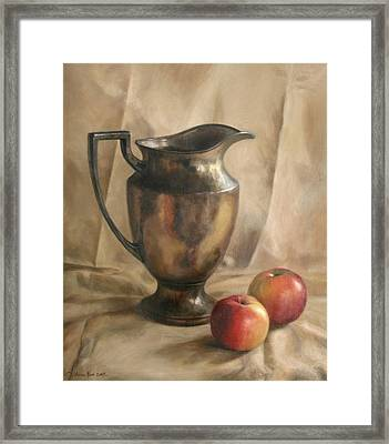 Apples And Pitcher Framed Print by Anna Rose Bain