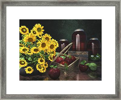 Apples And Sunflowers 1 Framed Print by Mary Almond