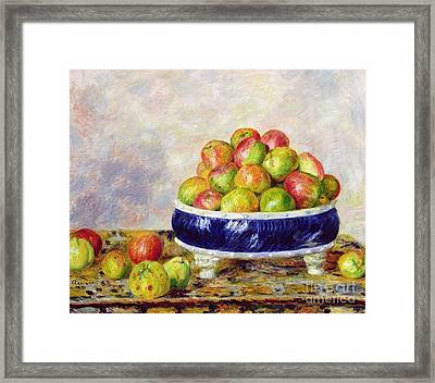 Apples In A Dish Framed Print by  Pierre Auguste Renoir