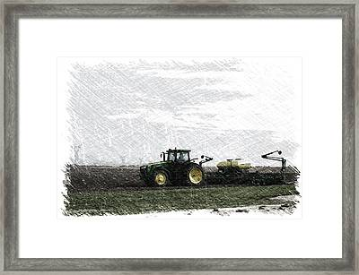 April Farming On The John Deere Pa Framed Print by Thomas Woolworth