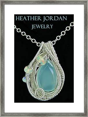 Aqua Chalcedony Wire-wrapped Pendant In Sterling Silver With Ethiopian Welo Opals Qchlcpss1 Framed Print by Heather Jordan