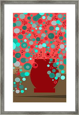 Aqua Flowers In A Red Vase Framed Print by Val Arie