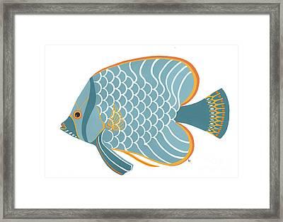 Aqua Mid Century Fish Framed Print by Stephanie Troxell