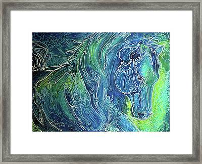 Aqua Mist Equine Abstract Framed Print by Marcia Baldwin