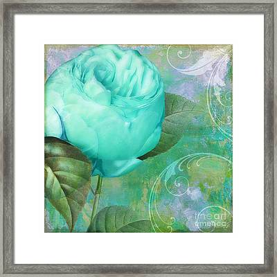 Aqua Rose Framed Print by Mindy Sommers