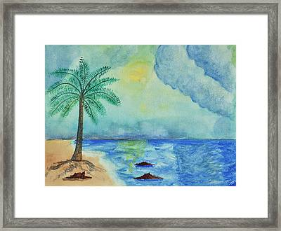 Aqua Sky Ocean Scene Framed Print by Linda Brody