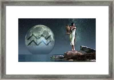 Aquarius Zodiac Symbol Framed Print by Daniel Eskridge