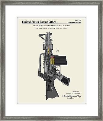 Ar-15 Semi-automatic Rifle Patent Framed Print by Finlay McNevin