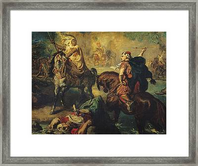 Arab Tribal Chiefs In Single Combat Framed Print by Theodore Chasseriau
