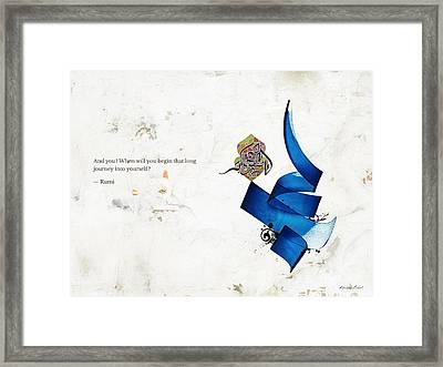 Arabic Calligraphy - Rumi - Journey Into Self Framed Print by Khawar Bilal